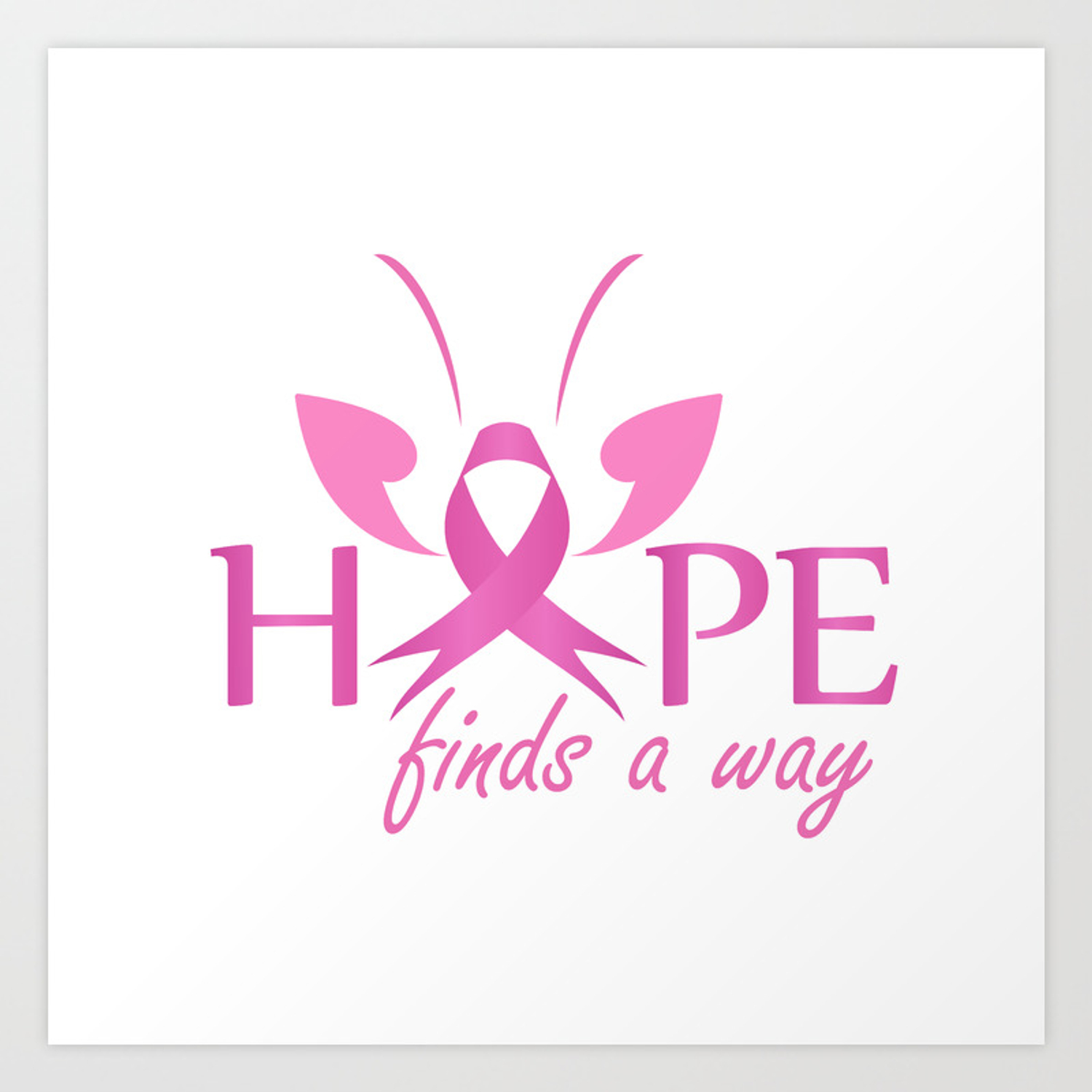 Hope Finds A Way Pink Ribbon With Butterfly To Symbolize Breast