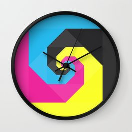 CMYK triangle spiral Wall Clock