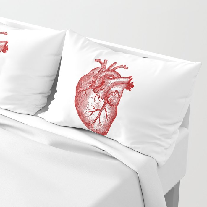 Vintage Heart Anatomy Pillow Sham