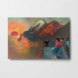 'Romantic Alpine Sunset' Landscape Painting by Marianne Von Werefkin Metal Print
