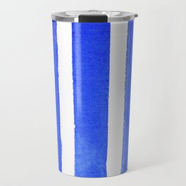Watercolor Blue Stripes Travel Mug