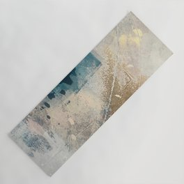 Embrace: a minimal, abstract mixed-media piece in blues and gold with a hint of pink Yoga Mat