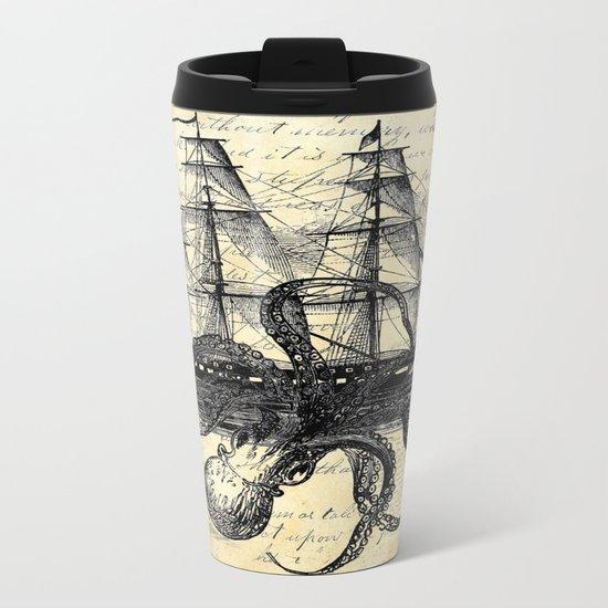 Kraken Octopus Attacking Ship Multi Collage Background Metal Travel Mug
