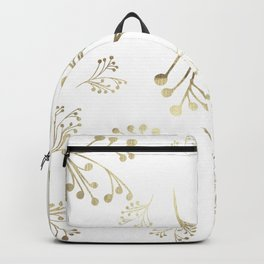 Holiday Flourishes in Digital Gold Foil Design on White Style 2 Backpack