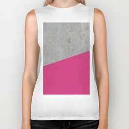 Concrete and Pink Yarrow Color Biker Tank