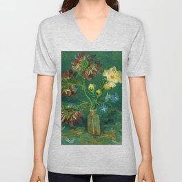 """Vincent Van Gogh """"Small Bottle with Peonies and Blue Delphiniums"""" Unisex V-Neck"""