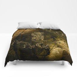 Wonderful golden chinese dragon Comforters