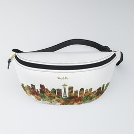 Seattle Watercolor Skyline Poster Fanny Pack