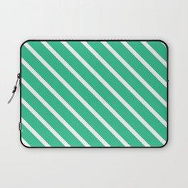 Turquoise Green Diagonal Stripes Laptop Sleeve