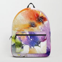 Watercolor Flowers. Summer florals Backpack