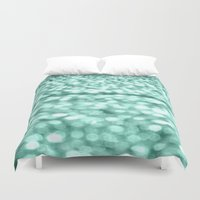 mint Duvet Covers featuring Mint Glitter Sparkles by WhimsyRomance&Fun