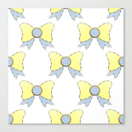 sky blue and daisy yellow bows 1 Canvas Print