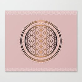 Peach and Gold Flower of Life - Sacred Geometry Canvas Print