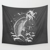 narwhal Wall Tapestries featuring Narwhal Skewer by victor calahan