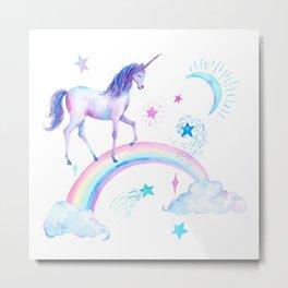 Watercolor Over the Rainbow Unicorn Metal Print