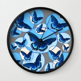 ABSTRACT MODERN ART CIRCLE PATTERNED  BLUE BUTTERFLY FLOCK Wall Clock