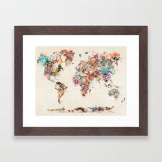 world map watercolor deux Framed Art Print