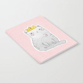 Cute cat with crown pink background Notebook