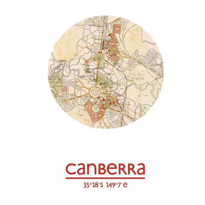 Canberra Australia Map.Canberra Australia City Poster City Map Poster Print Comforters