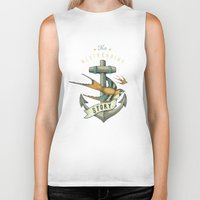 grey Biker Tanks featuring Anchor | Petrol Grey by Seaside Spirit