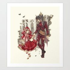 Big Wolf, Little Red Art Print
