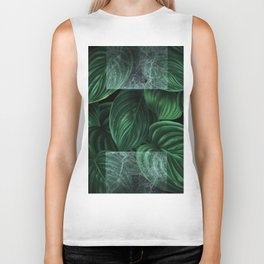tropical green pattern on black Biker Tank