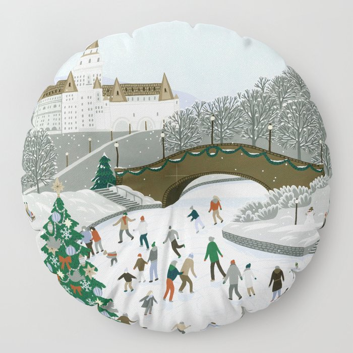 Ice skating pond Floor Pillow