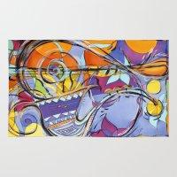 jazz Area & Throw Rugs featuring JAZZ by Diane Stevenett Fine Art
