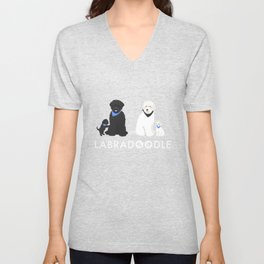 Labradoodle black and white Unisex V-Neck