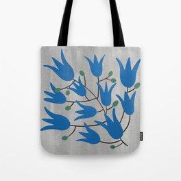 Blue Bell Flowers on Silver Background – Blue Bell – Scandinavian Folk Art Tote Bag