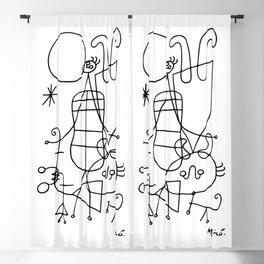 Joan Miro, Figures And Dog In Front Of The Sun, 1949 Sketch Artwork, Men, Women, Kids, Prints, Poste Blackout Curtain