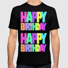 Happy Birthday Mens Fitted Tee MEDIUM Black