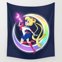 sailor moon Wall Tapestries featuring Sailor Moon by Eileen Marie Art
