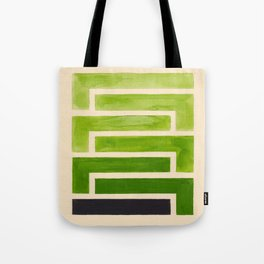 Sap Green Geometric Watercolor Painting Tote Bag