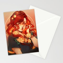Red hair, White flowers Stationery Cards