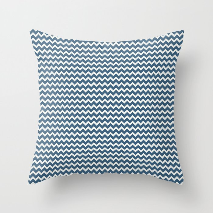 Blue & Off White Chevron Pattern Inspired by 2020 Color of the Year Chinese Porcelain PPG1160-6 Throw Pillow