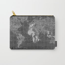 Black and White Vintage World Map Carry-All Pouch