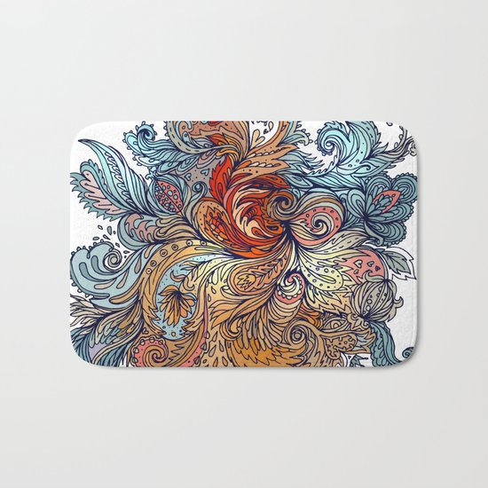 Brown Floral Indian Pattern Bath Mat