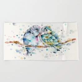 Mr & Mrs Snugglepots [pacific parrotlets] Beach Towel