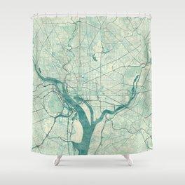 Washington Map Blue Vintage Shower Curtain
