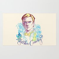 downton abbey Area & Throw Rugs featuring RIP Matthew Crawley, of Downton Abbey.  by Erin Gallagher Illustration and Design