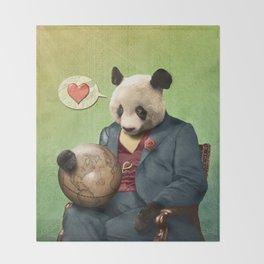 Wise Panda: Love Makes the World Go Around! Throw Blanket