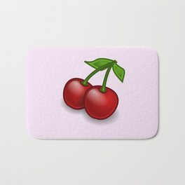 Cherries, Leaves, Stems, Fruits - Red Green Bath Mat