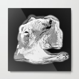 icebear polarbear enjoying vector art black white Metal Print