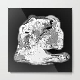 icebear polarbear enjoying vector art black white Metal Print