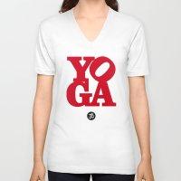 yoga V-neck T-shirts featuring YoGA by Isamu