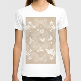 Dreamy butterflies and mandala in iced coffee T-shirt