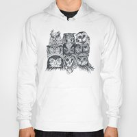 owls Hoodies featuring Nine Owls by Rachel Caldwell