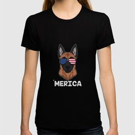 Patriotic America Malinois Dog Owner Gift T-shirt