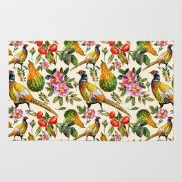 Vintage pink orange yellow ivory watercolor birds roses floral Rug